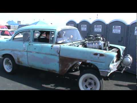 Old Chevy Cars >> Blown 1956 Chevy Gasser at Bakersfield,Ca 2010 - YouTube