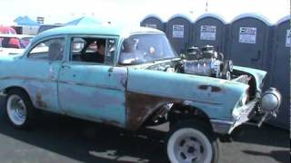 Blown 1956 Chevy Gasser at Bakersfield,Ca 2010