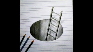 pencil easy 3d simple sketch drawing ladder hole