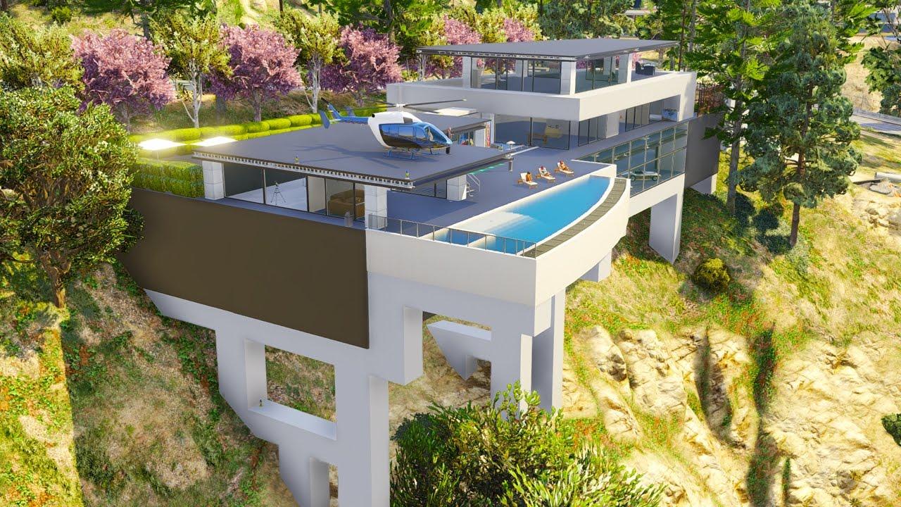 une villa de milliardaire avec piscine suspendue sur gta 5. Black Bedroom Furniture Sets. Home Design Ideas