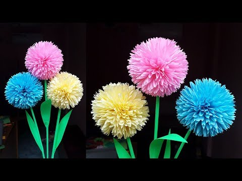How to Make Round Flower with Tissue Paper | DIY Paper Flowers