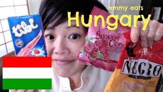 Emmy Eats Hungary - tasting Hungarian sweets(Tasting a few Hungarian sweets including a strawberry-yogurt filled chocolate bars and a couple varieties of hard candies on this episode of Emmy Eats ..., 2014-01-02T17:00:01.000Z)