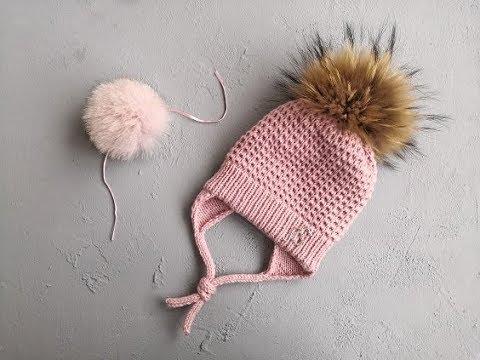 Зимняя шапочка спицами для девочки 6 месяцев