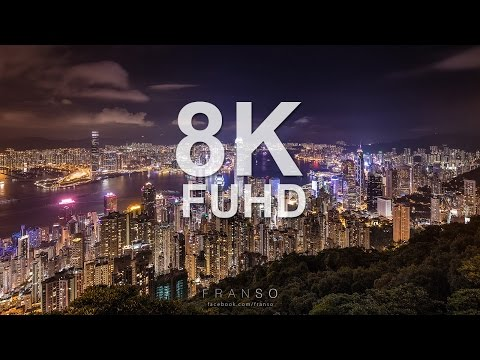8K FUHD Hong Kong Night Scene at Victoria Peak Time lapse 香港維多利亞港夜景