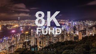 8K FUHD Hong Kong Night Scene at Victoria Peak Time lapse 香港維多利亞港夜景