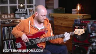 "Sir Duke by Stevie Wonder - ""That Cool Bit"" - Quick Riff /// Scott's Bass Lessons"