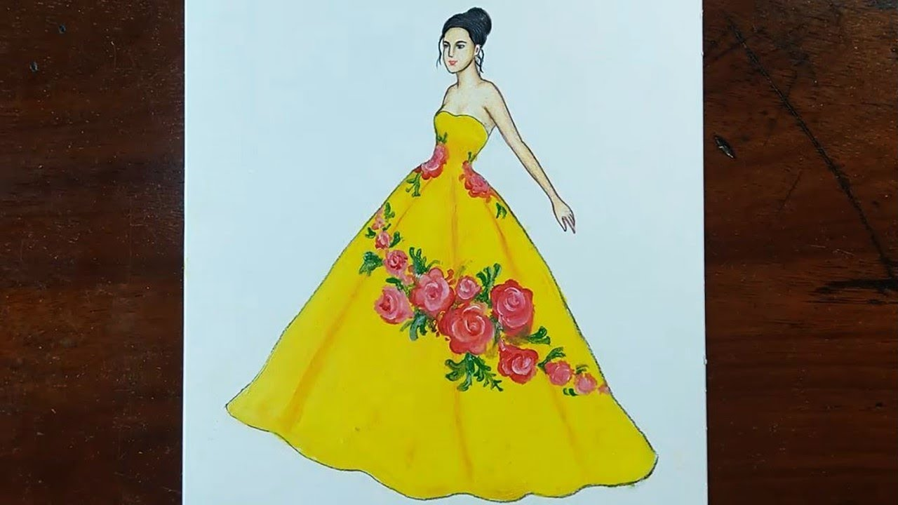 Yellow Floral Dress Fashion Sketch Painting For Beginners Youtube