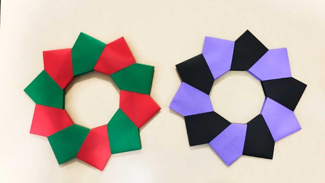 クリスマスハロウィン折り紙 飾り 簡単なリースの折り方ー