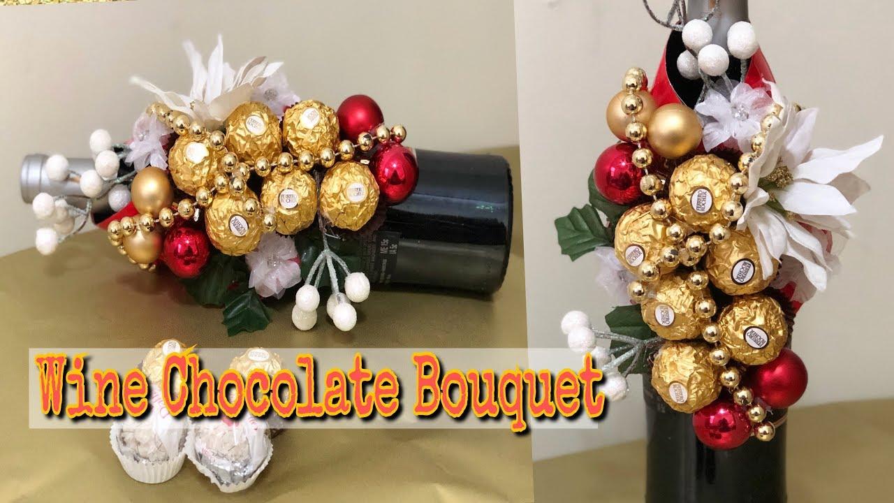 Wine Bottle Christmas Tree Diy.How To Wrap Wine Bottle Wine Chocolate Bouquet Diy Christmas Gift Bee Kreativee