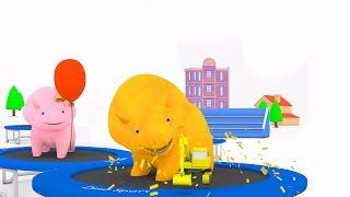 Naucz się kolorów prezentów w balonach, Dina i Dino Dinozaury na trampolinach | bajka edukacyjna