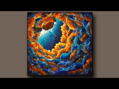 "How to paint Abstract Landscape Painting ""Starry universe""  / Daily Art Therapy / Painting #763"