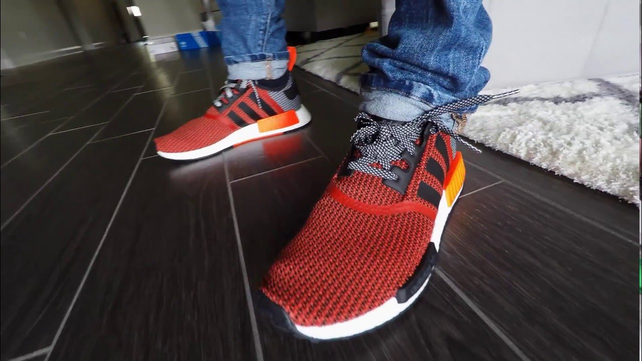 4a3660d94 Adidas NMD R1 True Red Circular Knit Review with On Feet - YouTube
