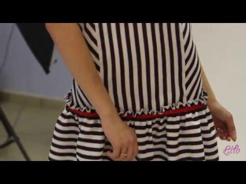 Короткое платье в полоску с рюшей Lilo