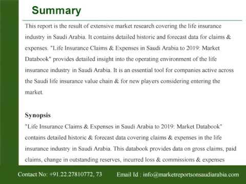Life Insurance Claims and Expenses in Saudi Arabia to 2019: Market Databook