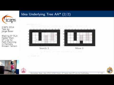 """ICAPS 2014: Jorge Baier on """"Making A* Run Faster than D*-Lite for Path-Planning in Partially ..."""""""