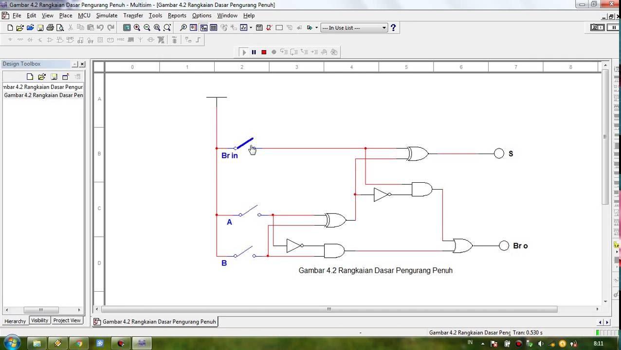 Multisim Tutorial Full Subtractor Circuit Youtube Bit