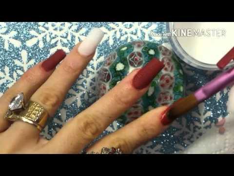diseño de uñas acrílicas en punta \u0026quot;C\u0026quot; (color vino matte, para Christmas❄🍁