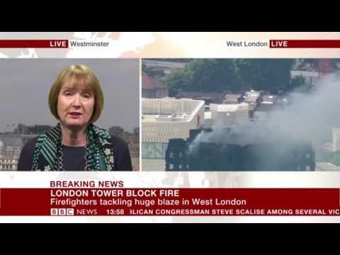 Harriet Harman on BBC news talking Grenfell & Lakanel 14/06/2017