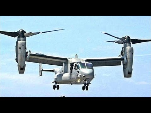 US Military V-22 Osprey Tilt Rotor Aircraft Refiling exercise