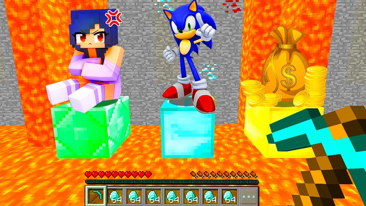 Minecraft PE : ONLY ONE Can Be SAVED - APHMAU or SONIC or MONEY in Minecraft!