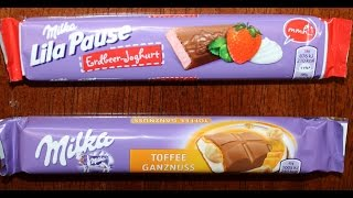 From Germany! Milka Lila Pause: Erdbeer-joghurt & Milka: Toffee Ganznuss Review