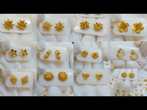 Latest Small Gold Ear-Studs Designs In Light Weight