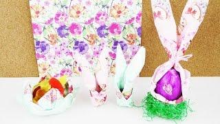 3 tolle Servietten Ideen für Ostern | Süße Osterhasen aus Serviertten & gefüllte Blume Osternest