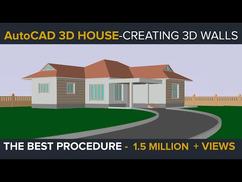Autocad 3d house part1 making 3d walls youtube for Autocad house drawings
