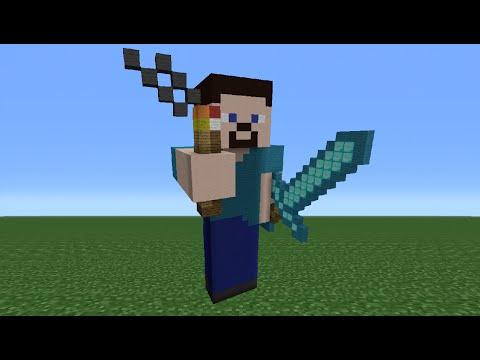 Minecraft Tutorial: How To Make A Steve Statue (Explorer Steve)