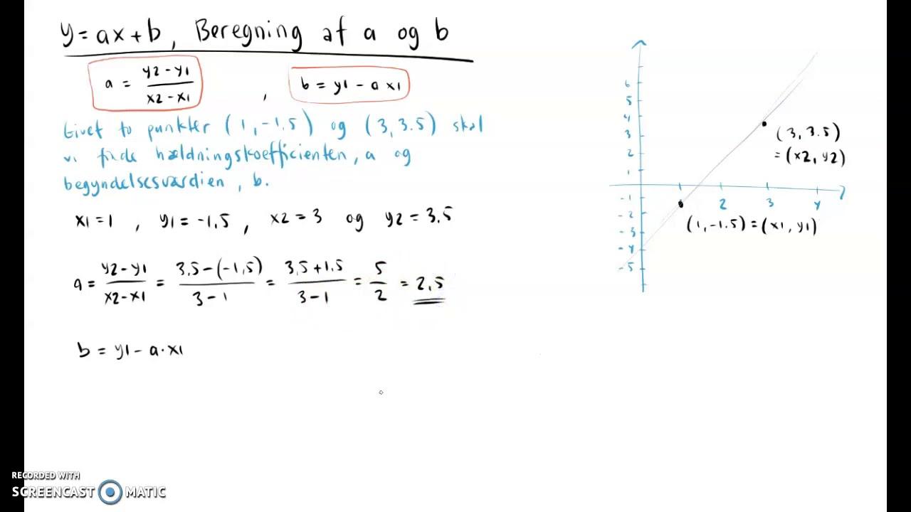 Beregning af a og b for y=ax+b