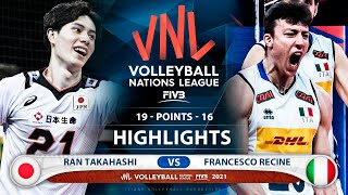 Japan vs Italy   VNL 2021   Highlights   Ran Takahashi vs Francesco Recine