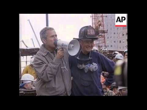 Bush Presented With Bullhorn He Used At Ground Zero Youtube
