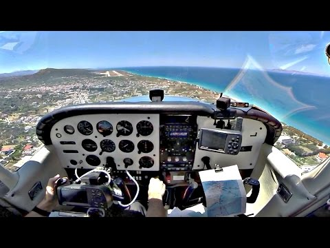 Cessna 172 Ferry Flight Larnaca to Rhodes Intl - GoPro Cockpit View -  300nm X-Country - ATC Audio