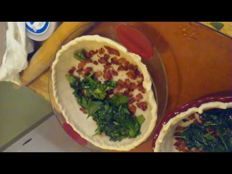 Easy, with principles, making QUICHE, with bacon, spinach, mushrooms, fetta, and cheese blend