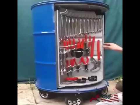 705444c282 Barril reciclado pode servir como caixa de ferramenta. - YouTube