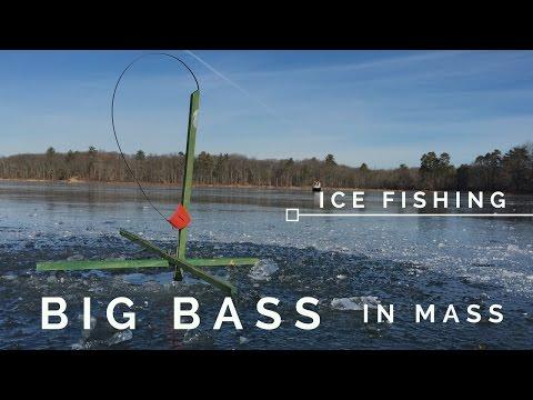 Ice Fishing In Massachusetts - BIG BASS!!!!