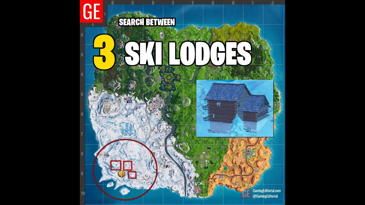 Fortnite: Search Between 3 Ski Lodges Easy And Simple