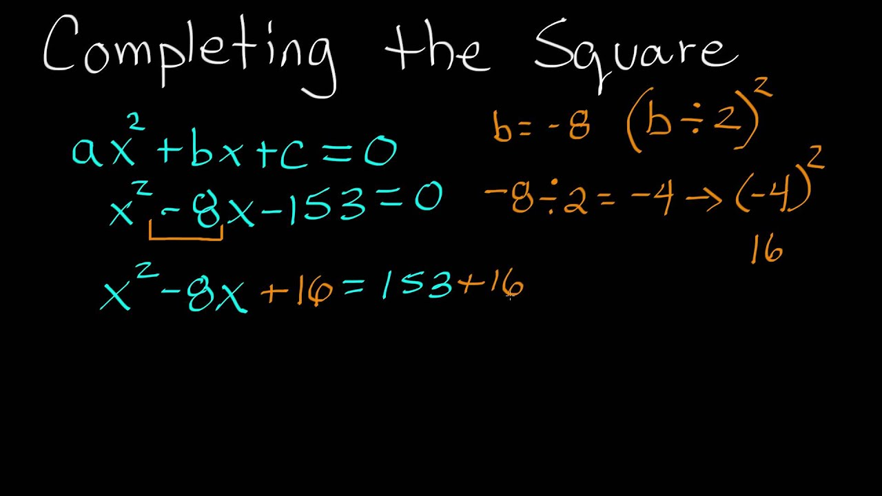 How To Complete The Square Completing The Square Example Youtube