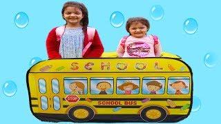ELİF ÖYKÜ VE MASAL OKUL SERVİSİNE GEÇ KALDILAR - Elif Öykü Pretend Play with School Bus Tent!
