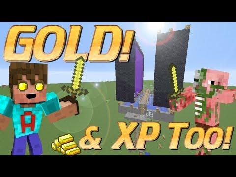 How To Make A Gold Farm In Minecraft Overworld Gold Farm Minecraft Xp Farm Tutorial Youtube