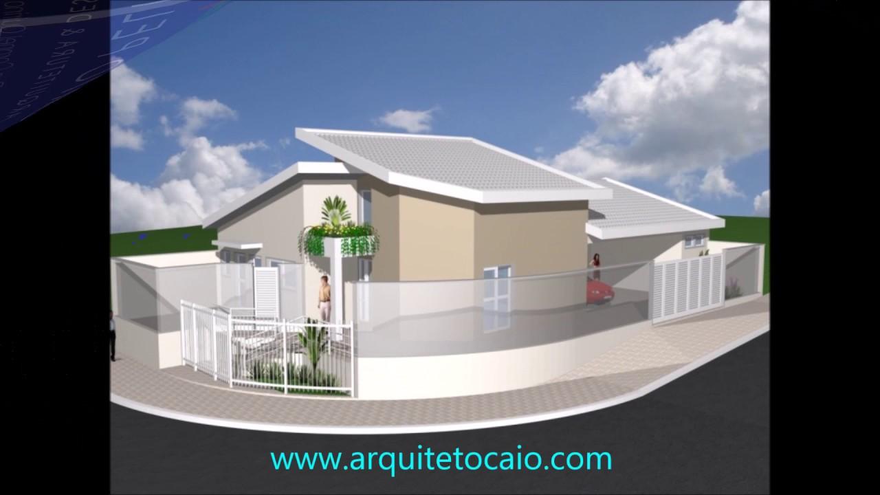 Projeto de casa t rrea de esquina 10x25 moderna com for Casa moderna esquina