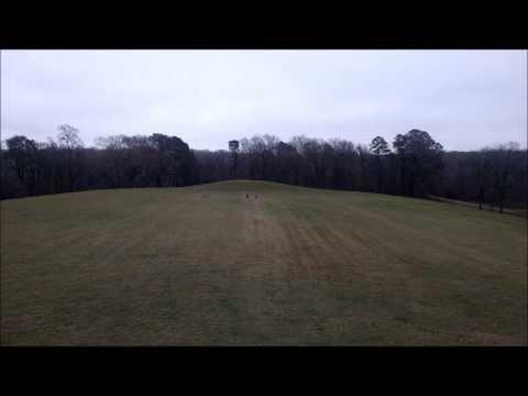 Edie & Lilah running across Emerald Mound 12/29/14