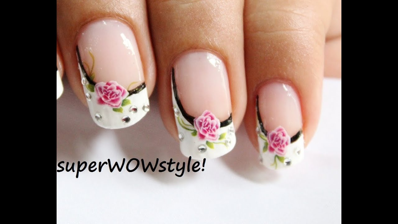 Water Decals Sideways French Manicure Nail Designs French Tip
