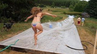 HUGE Slip 'n Slide at the Farm!