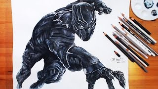 Speed Drawing: Black Panther 블랙팬서 - Captain America, Civil War | drawholic