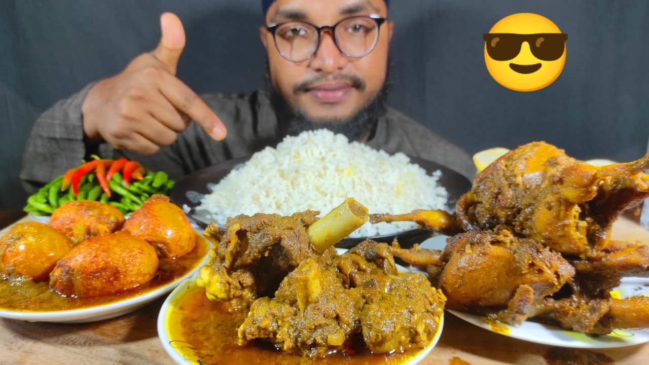 SPICY MUTTON CURRY, EGG CURRY, chilli Pepper, QUAIL CURRY WITH RICE EATING   FOOD EATING VIDEOS