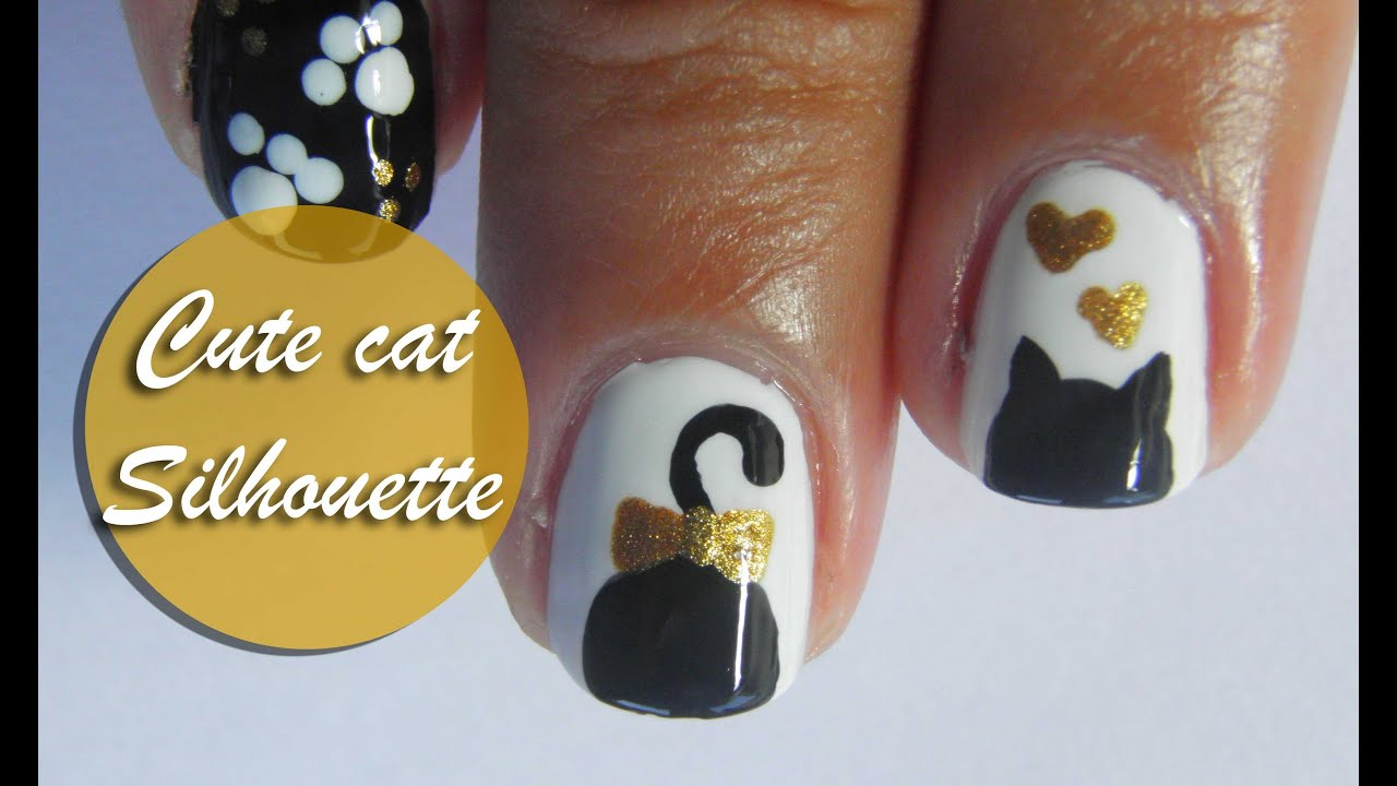 Cute cat silhouette nail art tutorial - YouTube