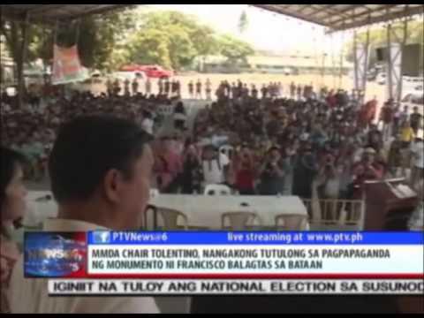 Tolentino, nangakong tutulong sa pagpapaganda ng monumento ni Francisco Balagtas sa Bataan