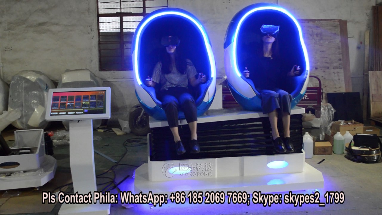 cheap price egg pod chair 9D VR cinema simulator shooting game 2 seats