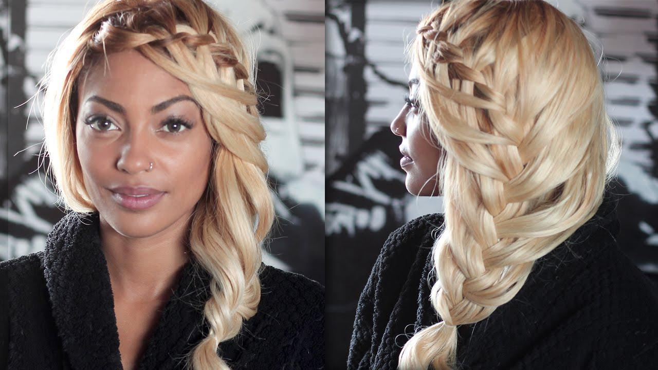 популярная схема плетения косы водопада